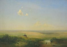 Luis Miguel Goitizolo said: Another landscape radiating peace and beauty and love of nature in this very early painting of Alexei Savrasov - Steppe in Daytime (oil on canvas, Eurasian Steppe, Russian Landscape, Russian Art, Ciel, Great Artists, Oil On Canvas, Lyrics, Scene, World