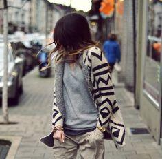 grey shirt + pattern sweater