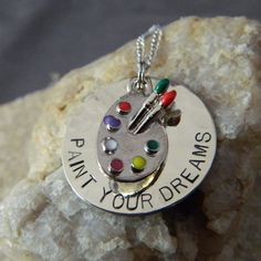 Paint Your Dreams Artist Handstamped Necklace by WireNWhimsy, $25.00