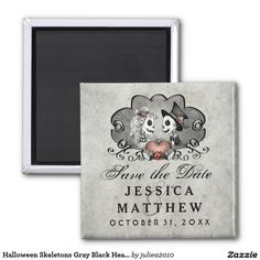 Visit: http://jagifts.us/SaveDateSkeletonsGraySquareMagnet - Halloween Skeletons Gray & Black Heart Save the Date Two Inch Square Magnet by Julie Alvarez Designs. Magnets are a fun way to save the date for your special spooky day.  #halloweenwedding #savethedate #skeletons