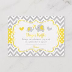 Yellow and Gray Elephant Chevron Diaper Raffle Enclosure Card Custom Baby Shower Invitations, Baby Shower Invitation Cards, Grey Elephant, Giraffe, Teal Baby Showers, Baby Canvas, Pack Of Diapers, Diaper Raffle, Twinkle Twinkle Little Star
