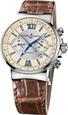 - Description - Details - FREE Shipping - Returns The Marine Chronograph is an elegant timepiece at home under a suit or with jeans and t-shirt. It's cream dial with roman numerals is easy to read yet