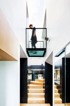 Living Room - Creative Bridge Design In Classic House Which Is Made From Transparent Glass And Black Handle Made From Metal: Bewitching Mode...