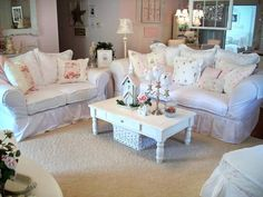 Charming Shabby Chic Living Room Designs :Love this room.  The color is close to what I want in my little sewing room.