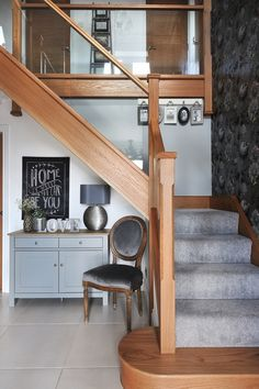 DIY Home Ideas : interior-design-home:Look at the modern glass staircase that we created for Nicola Roberts-Green and her family. Wooden Staircases, Wooden Stairs, Modern Staircase, Staircase Design, Modern Hallway, Staircase Ideas, Oak Stairs, Stairways, Stairway Decorating