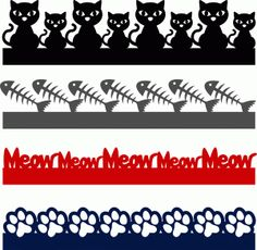 cat borders----------------------------- Silhouette Online Store - View Design #60505: cat borders set