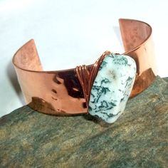 Tree Agate Copper Cuff Bracelet $26