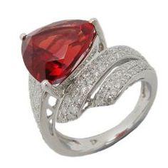 18k white gold, diamond and gemstone ring