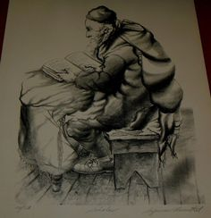 #1ANTIQUE ENGRAVING  SIGNED BY AMERICAN ARTIST SEYMOUR ROSENTHAl