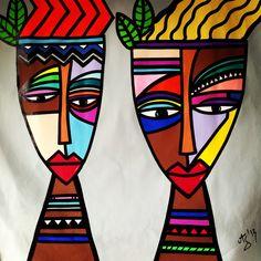 Arte Tribal, Tribal Art, African Art Paintings, Cubism Art, Picasso Art, Bright Art, Masks Art, Arte Pop, Indian Art