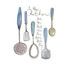 Vintage utensils Kitchen art print, Retro housewares decor, Retro Kitchen poster, Blue kitchen decor, 8X10 print Kitchen quote giclee poster