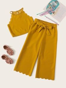 Kiddie Girls Ginger Scallop Trim Tank Top And Belted Pants Boho Set – gagokid Kids Dress Wear, Dresses Kids Girl, Kids Outfits Girls, Cute Girl Outfits, Cute Casual Outfits, Cute Summer Outfits, Girls Fashion Clothes, Teen Fashion Outfits, Girl Fashion