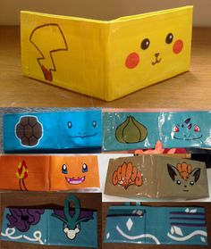 Various Pokemon duct tape wallets that I have made