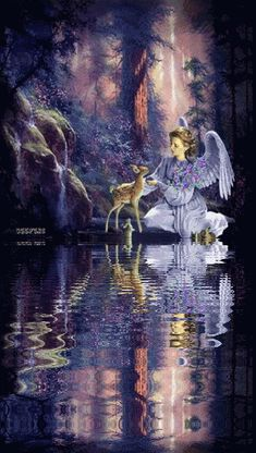 ANGEL - Animated GIF friend reflection | wanted to stop by and wish all here a peaceful and restful evening ...