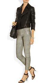 Helmut LangSnake-print leather leggings-style pants    #thepinkfrockleatherweather