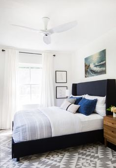 How to incorporate a modern ceiling fan into a bedroom @HaikuHome.