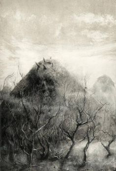 """Illustration for Lovecraft's """"The Dunwich Horror"""" by Santiago Caruso"""