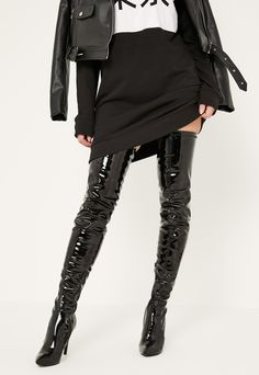 Black Patent Stiletto Over The Knee Boots | #Chic Only #Glamour Always