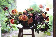 Bouquet includes: peonies, garden roses, viburnum, sweet peas and crambe.