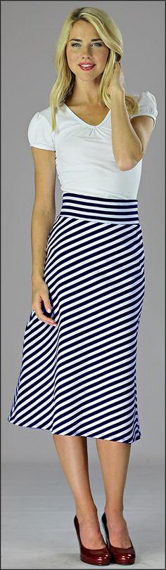 A-Line Knit Skirt Mid Length