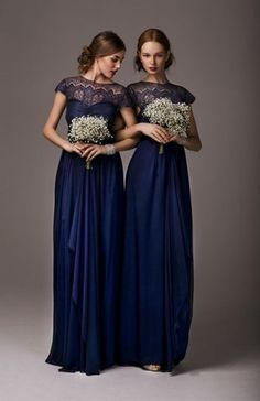 Lace neckline, evening gowns, bridesmaids dresses / 47 Mysterious Midnight Blue Wedding Ideas | HappyWedd.com / white bouquets