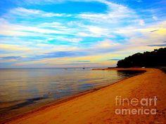 Beach With Vibrant Sky Fine Art Print - Annie Zeno