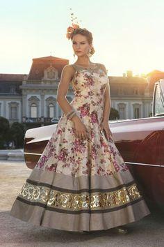 Show details for Floral printed cream & peach color anarkali suit