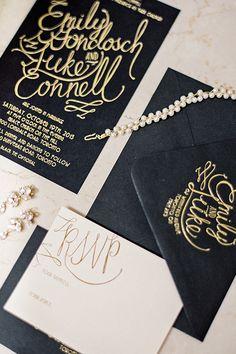 Formal, black and gold script wedding invitations | @whenhefoundher | Brides.com