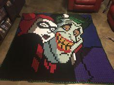 Crochet Harley Quinn and the Joker Take a Selfie blanket