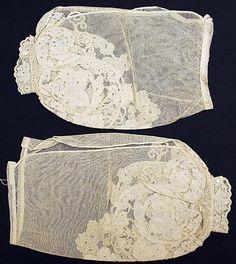 "Undersleeves c 1850-65  British, fabric: linen, cotton  lenght 12 34"""
