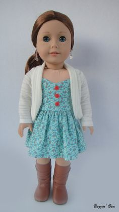 Vintage Inspired Emerald Dress And Cream Cardigan - American Girl Doll Clothes
