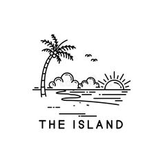 beach on a tropical island, line art style design Easy Doodles Drawings, Mini Drawings, Simple Doodles, Pencil Art Drawings, Kritzelei Tattoo, Island Tattoo, Beach Drawing, Beach Logo, Line Illustration