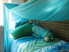 A turquoise dorm fort