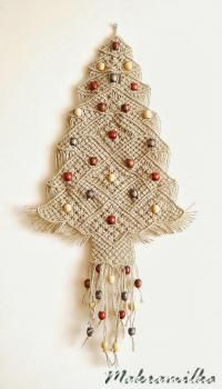 Crochet Christmas Tree Wall Hanging Ornaments 45 New Ideas Macrame Art, Macrame Projects, Macrame Knots, Crochet Christmas Trees, Christmas Tree Pattern, Hemp Yarn, Macrame Curtain, Christmas Crafts, Christmas Ornaments