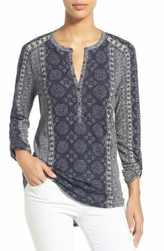Lucky Brand 'Etched Geo' Henley Top available at Kurta Designs, Blouse Designs, Stylish Dresses, Fashion Dresses, Mode Plus, Henley Top, Blouse Styles, Top Pattern, Long Sleeve Tops