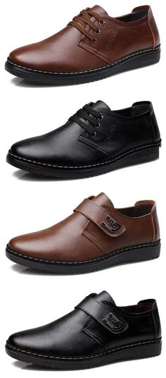 US$32.53 Men British Style Flat Lace Up & Hook Loop Leather Casual Shoes