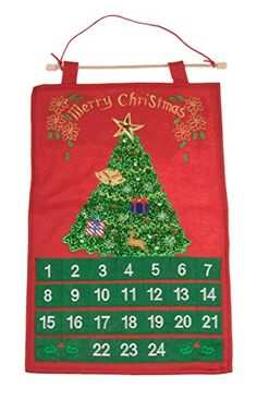 Red and Green Sparkly Christmas Tree 24 Day Hanging Advent Calendar  22 Tall * Continue to the product at the image link.