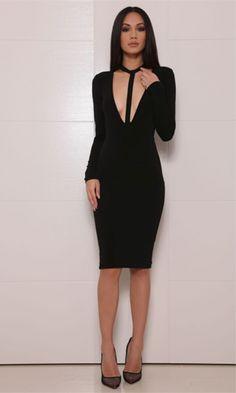 In Due Time Black Long Sleeve Plunge V Neck Halter T-Strap Bodycon Midi Dress