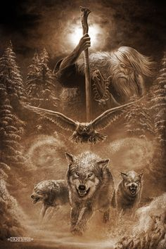 God Chernobog is a Slavic deity, whose name means black god, he is the counterpart of Belobog.Slavic mythology art by Igor Ozhiganov Fenrir Tattoo, Slavic Tattoo, Art Viking, Wolf Spirit Animal, Wolf Tattoo Design, Viking Tattoos, Wolf Tattoos, Hand Tattoos, Gods And Goddesses