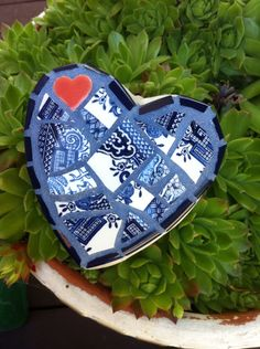 Small vintage china garden heart
