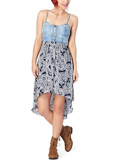 4c9ddc79c54 Chambray Bustier Paisley High Low Dress