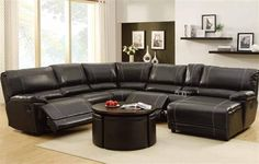 Cale Black Bonded Leather Wood Sectional
