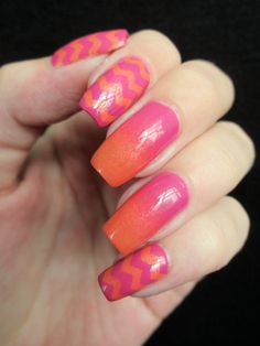 chevron and gradient nails