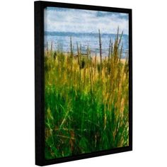 ArtWall Kevin Calkins Dune Grass in the Sunshine Gallery-Wrapped Floater-Framed Canvas, Size: 24 x 32, Blue