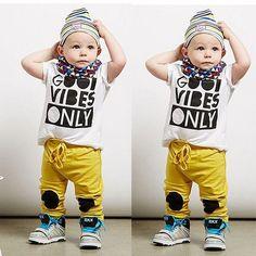 2pcs Toddler Kids Baby Boy T-shirt Tops Long Pant Trousers  Clothing Set