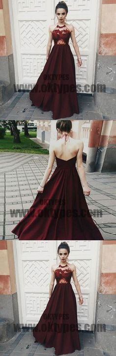 Long Floor Length Prom Dresses, Halter Strap Prom Dresses, Backless Prom Dresses, Appliques Prom Dresses, TYP0297 #promdresses