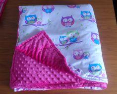 minky blanket, owls