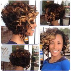 Toni Neal stylist - partial sewin inverted bob with highlights | Yelp