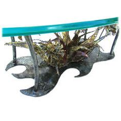 Silas Seandel Floral Brutalist Coffee Table with Beveled Oval Glass Top
