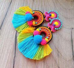 earrings handmade White Bridal Clip-On Earrings Long Tassel Earrings Pompom Beaded Tassel Earrings, Soutache Jewelry, Diy Earrings, Bridal Earrings, Clip On Earrings, Earrings Handmade, Handmade Jewelry, Beaded Jewelry, Bracelets Diy